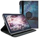 kwmobile Funda Compatible con Samsung Galaxy Note 10.1 N8000 / N8010 - Carcasa de Cuero sintético para Tablet Cielo Estrellado Azul/Negro