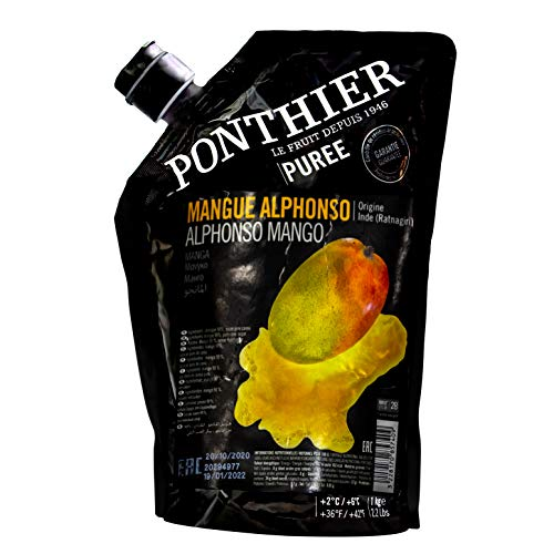 Food-United MANGO PÜREE Mango-Frucht-Püree von Ponthier 1KG Frucht-Smoothie-Bowl-Sorbet-Cocktail-Schorle-Saft aus Früchten höchster Qualität ohne künstliche Zusätze