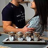 Bella O'Blue Kerzenständer für Teelichter I Teelichthalter Tischdeko I 4 Kerzenhalter in Dekoschale mit Deko Herz, Dekosteine weiß I Home + Love - 6