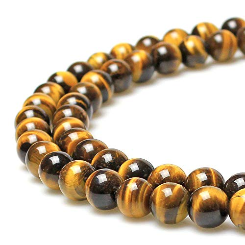 MJDCB Best Seller 8mm Yellow Tiger Eye A Grade Gemstone Loose Beads Natural Round Crystal Energy Stone Healing Power for Jewelry Making 1 Strand 15