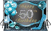 Zhy 50th Happy Birthday Backdrop  7x5ft / 2.1x1.5m New Vinyl  Wine Glass Shiny Blue Photography background  Banner Photo Shooting Props 299