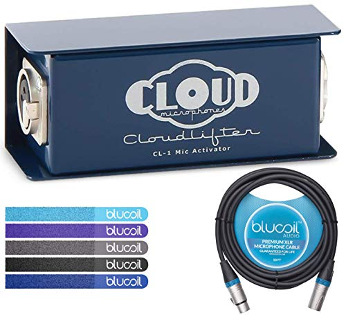 Cloud Microphones CL-1 Cloudlifter 1-Channel Mic Activator - Feedback Reducer Bundle with 10-FT Balanced XLR Cable, and 5-Pack of Reusable Cable Ties