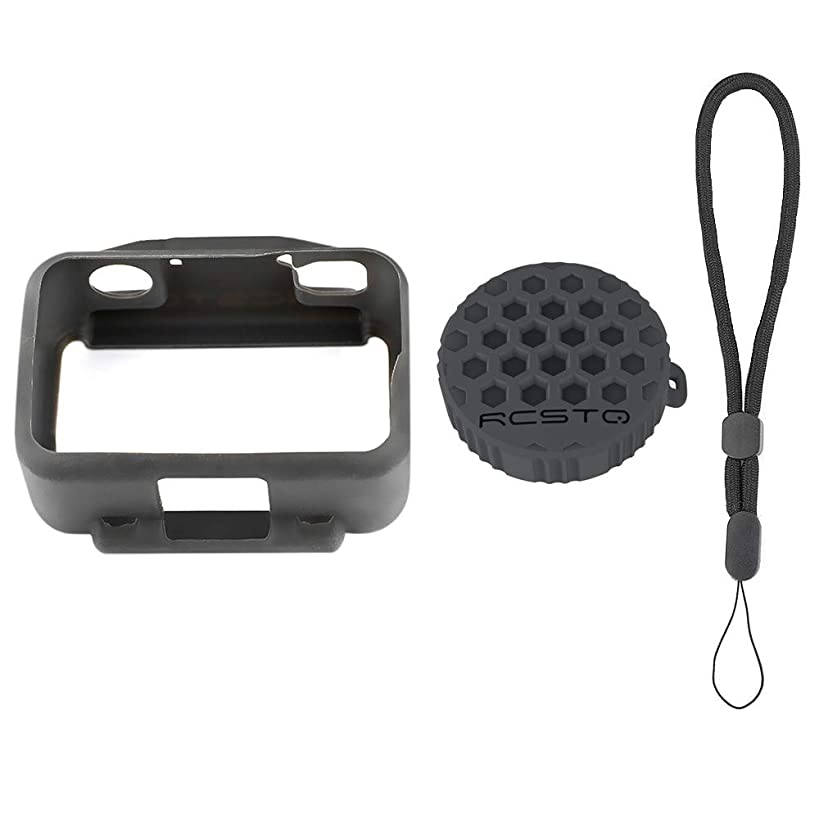 Sodoop Soft Silicone All-Around Protective Housing Shell Cover + Waterproof Scratch Resistant Lens Cap Case + Lanyard Accessories of 3 Sets for DJI OSMO Action 4K Camera