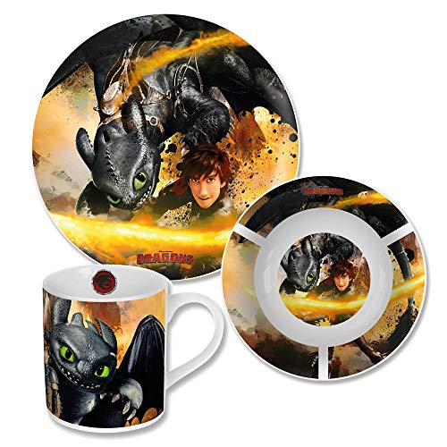 Dragons Geschirr-Frühstück-Set Porzellan | 3-teilig | Ohnezahn