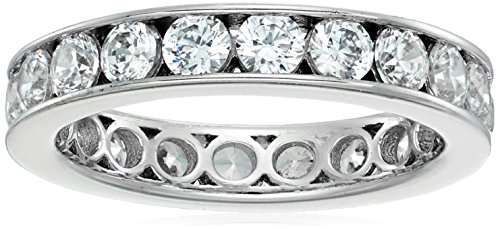 Platinum-Plated Sterling Silver Swarovski Zirconia Channel Set All-Around Band Ring (2 cttw), Size 6