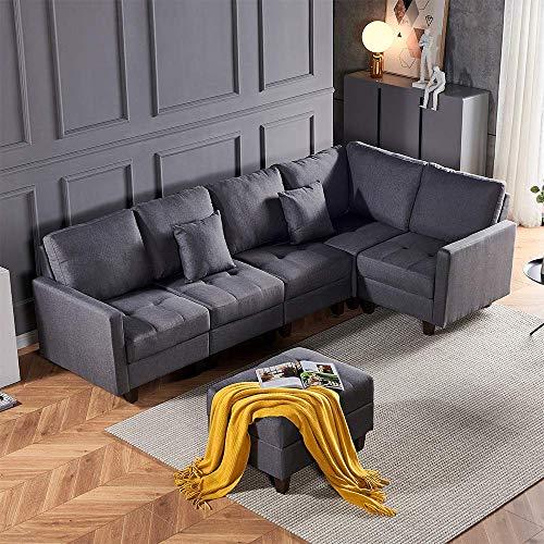 DAKEUR Ecksofa-Set Links- und Rechtsseite Freizeit-Sofa Sessel-Set Graues Gewebe Retro-Sofa Gepolstertes Sofa Sofa mit Fußschemel