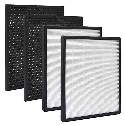 KEEPOW Juego de 2 filtros de repuesto para purificador de aire Levoit LV-PUR131 y LV-PUR131S, True HEPA y carbón activado