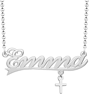 Q&Locket 925 Sterling Silver Personalized Custom Name Necklace Butterfly Cross Crown Heart Key Initial Nameplate Necklaces Gifts for Girls Womens