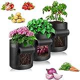 Kartoffel Pflanzsack 10 Gallonen Pflanzen Tasche Atmungsaktiv Pflanzsack aus Vliesstoff, Pflanztaschemit Sichtfenster und Griffen, für Kartoffeln, Karotten, Tomaten (Schwarz, 3)