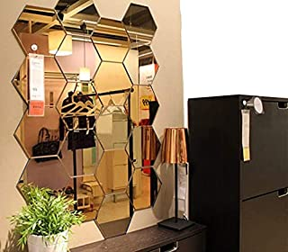 Atulya Arts Acrylic Hexagon Mirror Wall Sticker with 10 Butterfly Stickers Decoration Item for Home Living Room Bedroom Of...