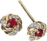 Elements Gold 9ct Yellow Gold Ruby and Diamond Cluster Earrings