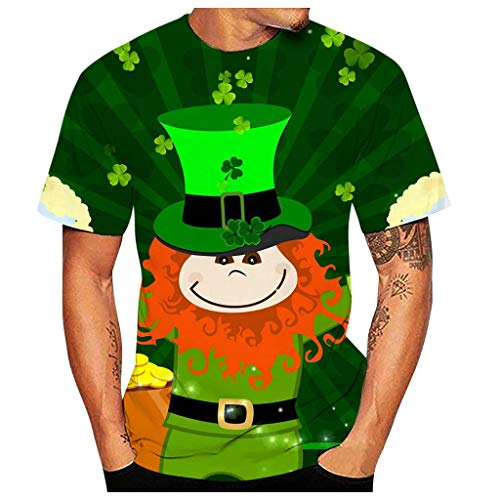 Mannen St. Patrick's Day T Shirt Saint Ierland Ierse Klaver Blad Groen 3D Print Ronde hals Slim fit Blouse Tees Mens Loud Dublin Hawaii Beer Whisky Casual Shirt met korte mouwen Zomer Party BBQ Top