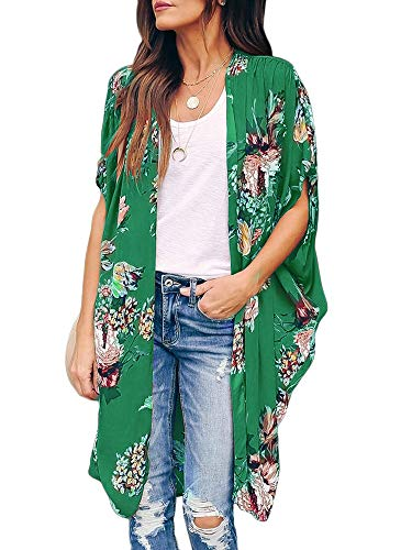 Womens Floral Beach Cover Up Kimono Open Front Cardigans Short Sleeve Draped Flowy Duster Cape Green