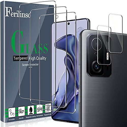 Ferilinso Protector de Pantalla Diseñado para Xiaomi Mi 11T/ Mi 11T Pro, 3 Piezas HD Cristal Templado con 2 Piezas Protector de Lente de cámara, Funda Amistoso, Dureza 9H, Sin Burbujas