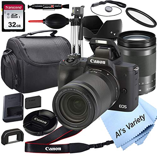 Canon EOS M50 Mirrorless Digital Camera with18-150mm Zoom Lens Lens + 32GB Card, Tripod, Case, and More (18pc Bundle)