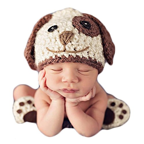 Baby Photography Props Photo Shoot Outfits Crochet Costume Infant Boy Girl Knitted Puppy Hats Shoes (Beige)