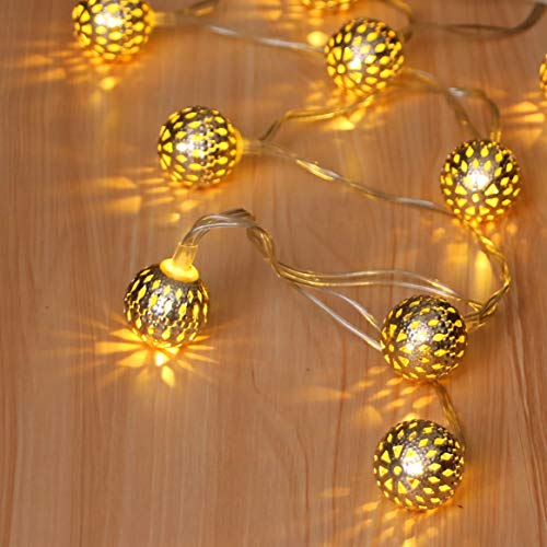 ANLAIBAO LED Globe String Lights,12ft 20LED 8 Modes USB Plug in Moroccan Metal Ball Fairy String Lights for Bedroom Garden Party Decoration Lights- Warm White