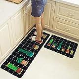liming 2pcs/Set Long Kitchen Mat Tapete Doormats Carpet Thin Non-Slip Anti Fatigue Door Bathroom Carpet Room Pad Floor Mat Home,25,40X120 and 40X60CM