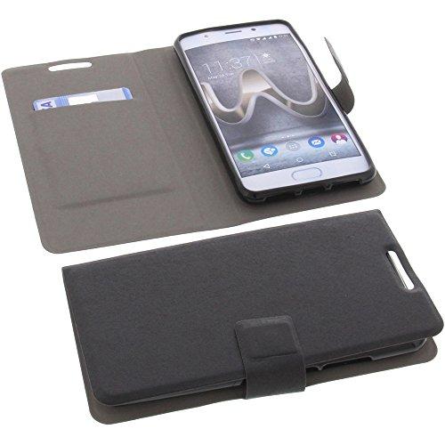 Tasche für Wiko U Feel Prime Book Style Ultra-dünn Schutz Hülle Buch Schwarz