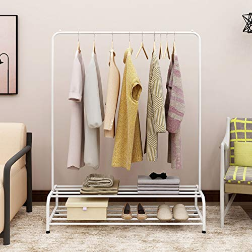 BOFENG Metal Garment Rack Industrial Free-Standing Clothes Rack with Top Rod and 2 Tier Lower Storage Shelf - White