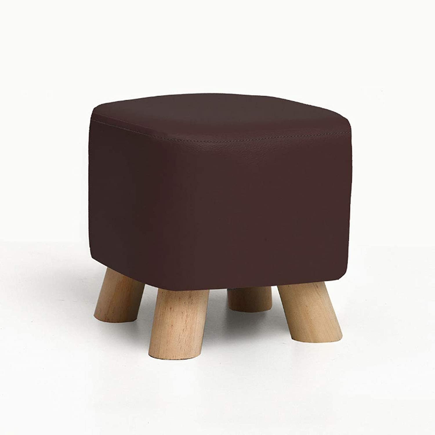 NJ STOOLS- Solid Wood shoes Stool Creative Square Stool Fabric Stool Sofa Stool Coffee Table Stool Home Stool (color   Coffee color, Size   28x28x25cm)
