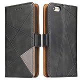 BININIBI Hülle für iPhone 6, Klapphülle Handyhülle Schutzhülle für iPhone 6s Tasche, Lederhülle Handytasche mit [Kartenfach] [Standfunktion] [Magnetisch] für iPhone 6 / iPhone 6s, Schwarz