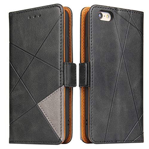 Lelogo Coque pour Apple 6, Housse en Cuir iPhone 6s, Portefeuille Étui Flip Case avec Fermoir Magnétique pour Apple iPhone 6/6s, Noir