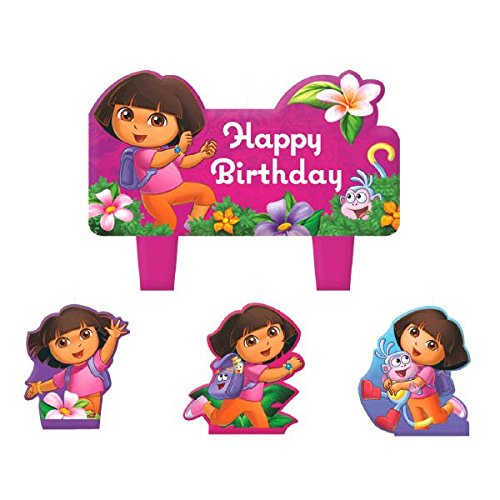 Party Time Dora's Flower Adventure Molded Mini Character Birthday Candle Set, Pack of 4, Hot Pink , 1.25' Wax