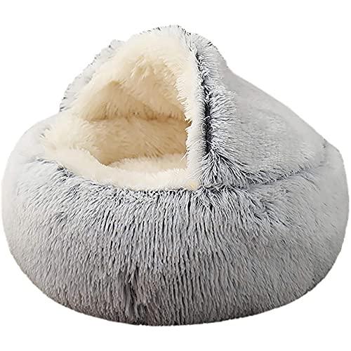 Ymgm Neue Haustierhundkatze Runde Plüschbett Halbgeschlossenes Katze Nest Für Tiefschlaf Komfort im Winter Katzen Bett Kleine Matte Korb Weiche Kennel (Size : S)