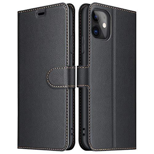 ELESNOW Hülle für iPhone 11, Premium Leder Klappbar Wallet Schutzhülle Tasche Handyhülle mit [ Magnetisch, Kartenfach, Standfunktion ] für Apple iPhone 11 (Schwarz)