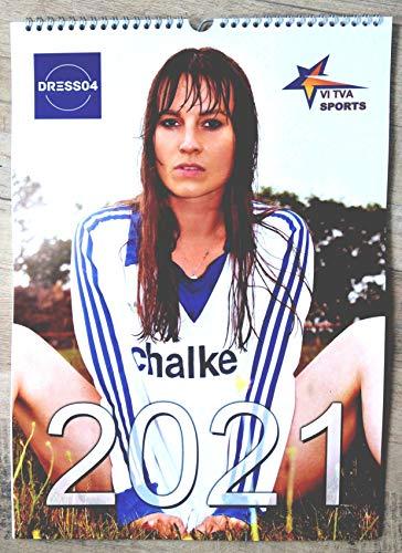 Retro Trikot Kalender 2021 | Wandkalender A3 | Mirjam Clara Model in Retro Trikots von Schalke 04 | 12 Monatsblätter +12x A3 Plakat | Pin Up Kalender | Vintage Kalender