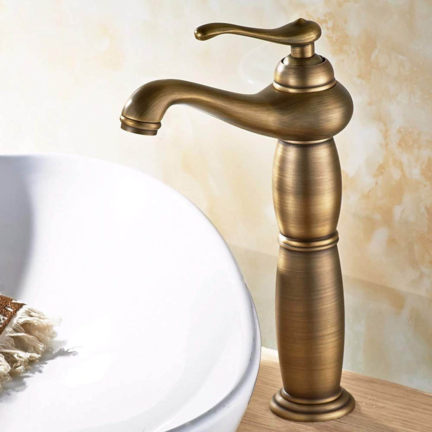 LHbox Basin Mixer Tap Bathroom Sink Faucet Antique-brass hot and cold basin faucet, a European-style toilet and wash basin mixer with high surface sink single hole faucet, B