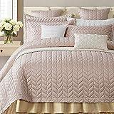 Icegrey Tagesdecke Bettüberwurf Premium GRAU,für Doppelbett Schlafzimmer Champagnerrosa 3-Stück 240x260 cm