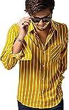 (キャバリア)CavariA メンズ ストライプレギュラーカラー長袖シャツ 46(L) 52(YEL/イエロー)