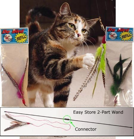 Da Bird Pull Apart Value Pack (1Pull Apart Pole Cat Toy & 2Extra Guinea Feder Nachfüller)