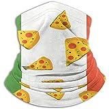 Yuanmeiju Polaina de cuello,Calentador de cuello a prueba de viento,Envoltura de la cabeza,Pañuelo,Pizza Italy Flag Italian Food Printed Anti-Uv Headband,Tube Face Scarf,Adults Kids Bandana