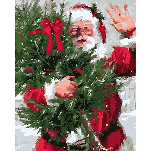 UTFADFS Pintar por Numeros para Adultos Niños, Santa Claus Invierno ,Pintura por Números con Pinceles y Pinturas, DIY Conjunto Completo de Pinturas Principiantes (40x50 cm,Sin Marco)