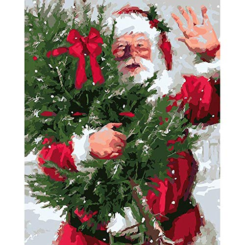 CJSZSD DIY Painting by Numbers Kits Santa Claus Theme Digital Painting Canvas Kits Birthday,Wedding new accommodation,Christmas Decor Decorations Gifts 16x121 inch(No frame