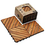 Wood Interlocking Flooring Tiles (Pack of 10, 12' x 12'), Solid Wood Acacia Deck Tiles Interlocking Outdoor, Patio Tiles Outdoor Interlocking Waterproof All Weather (8 Slat)
