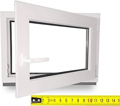 BxH: 40x80 cm DIN Links Premium Fenster Kellerfenster Kunststofffenster Breite: 40 cm 2 fach Verglasung Alle Gr/ö/ßen Dreh Kipp Wei/ß