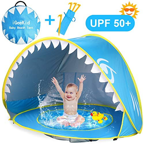 iGeeKid Baby Beach Tent Pool, Shark Pop Up Portable Sun Shelter Tent with Pool UPF 50+ UV Protection & Waterproof Sun Tent Beach Shade Baby Pool Tent for Toddler Infant Aged 0-4