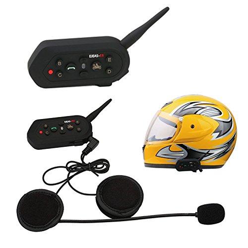 ELEOPTION 1 PCS 1300M Motorcycle Helmet Intercom Bluetooth Wireless Waterproof Bike Intercom Headsets (6 Riders,1300M)