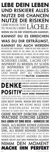 empireposter Motivational - Lebe Dein Leben Motivations Slim Poster Plakat Druck - Grösse 30,5x91,5 cm