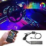 Car Lights Interior,LED Strip Lights for Cars Waterproof 4pcs 48 LED APP Controller Lighting Kits, Multi DIY Color Music Under Dash Car Lighting with Car USB Charger,DC 12V