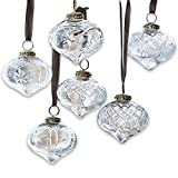 Loberon Weihnachtsschmuck 6er Set Cheshire, Glas, Aluminium, H/Ø 8,5/8 cm, klar