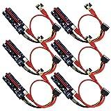 SupaGeek 6-Pack PCIE x1 bis x16 Riser-Adapterkarte mit 6-poligem PCI-E-Anschluss und 3 LEDs, einschließlich 60 cm USB 3.0-Verlängerungskabel und 6-poligem PCIE-zu-SATA-Kabel