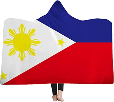 ASENART Philippines Flag Blanket Hoodie Blanket Pattern Women Mens Plush Polyester Blankets Camp Warmth Winter -130X150inch