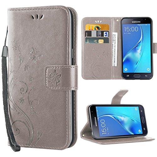 iDoer für Galaxy J3 Hülle,Solide Butterfly PU Leder Case Tasche Hülle Schutzhülle Flip Case Magnetverschluss Handyhülle im Wallet für Samsung Galaxy J3 2016/2015 5.0 Zoll - Grau