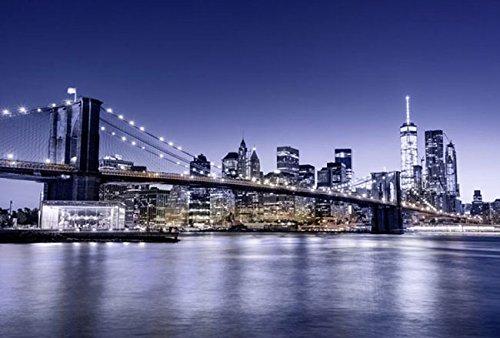 Fotobehang posterdecoratie blauw brooklyn bridge 3x2,70m decoratie XXL kwaliteit HD Scenolia