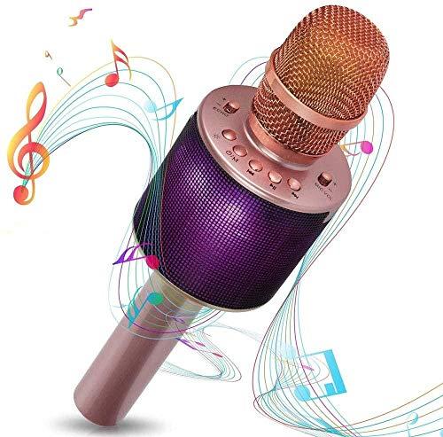 YAYY Bluetooth karaoke-microfoon draadloze karaoke-microfoon koppelbaar voor duette met veelkleurige LED-lampen en 5W-luidsprekers Compatibel met Android- en iOS-apparaten (upgrade)